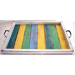 This serving tray is perfect for drinks, finger foods, breakfast in bed, or even as table top decor. Handmade from recycled wood, this rectangular serving tray comes from talented artisans in Thailand.