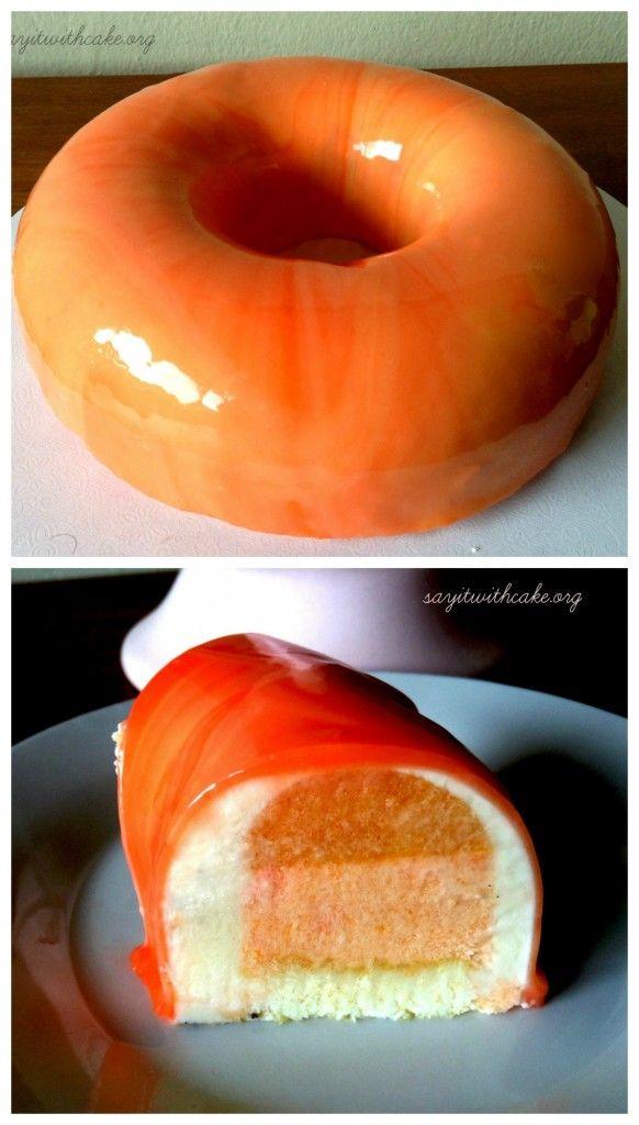 Peach Mousse Entremet | www.sayitwithcake.org | #mirrorglaze
