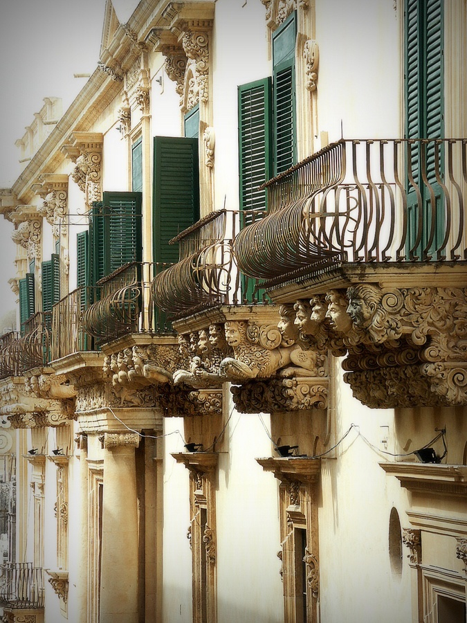 Balconies in Noto, Sicily, Italy. What a beautiful little town! I've been down this road!