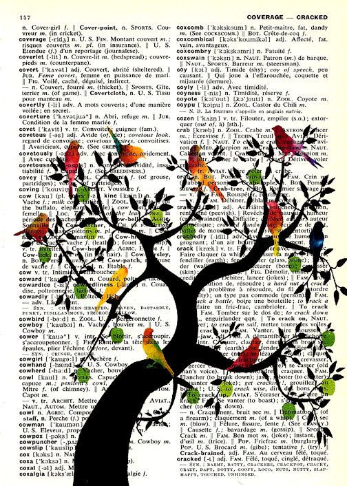 Tree of Life Vintage  English to French Dictionary Page Original Art Green Apples. $10.00, via Etsy.