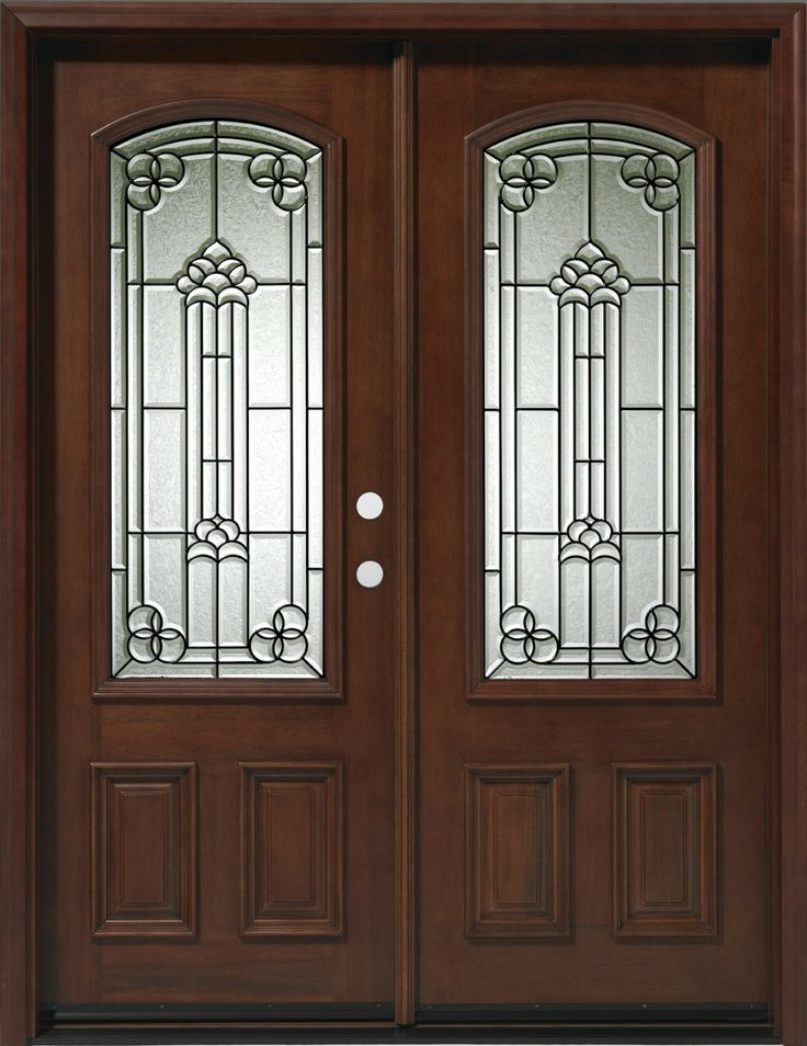 Double Mahogany 3 4 Lite Arch 5 39 Solid Wood Entry Door Double Entry Doors Wood Entry Doors