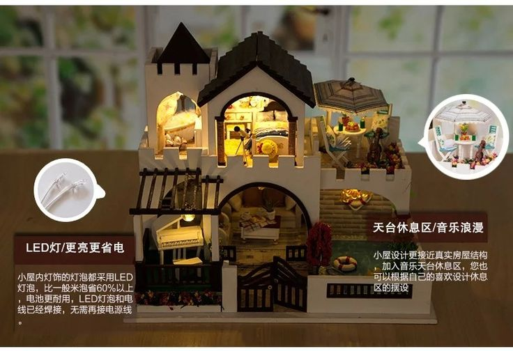 Mediterranean Castle Large DIY Wood Doll house 3D Miniature Dust cover+Music box+Lights+Furniture Home decoration Building model-in Doll Houses from Toys & Hobbies on Aliexpress.com | Alibaba Group