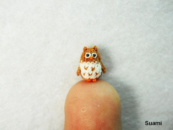 Tiny Brown Owl  Micro Crochet Miniature Bird  Made To by suami, $28.00