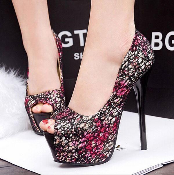 Women Floral Print Peep Toe Platform Pumps Stiletto High Heels Shoes 2 Colors #100brandnew #PlatformsWedges #Party #platformhighheelsfloralprints #platformpumpsstilettos