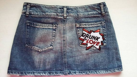 Woman Sequin Patched Jeans Skirt / Girl by MadeWithUnicorns