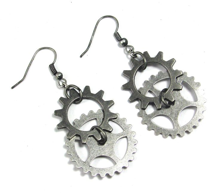 STEAMPUNK EARRINGS Industrial Jewelry Gears Cogs. $12.00, via Etsy.