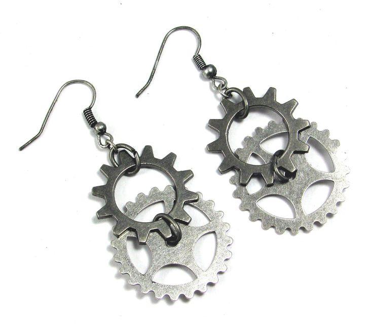 STEAMPUNK EARRINGS Industrial Jewelry Gears Cogs. $12.00, via Etsy.