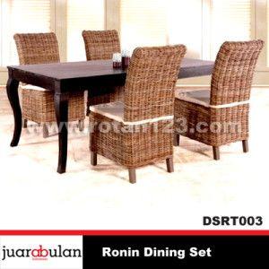 Ronin Dining Set Meja Makan Rotan Alami DSRT003
