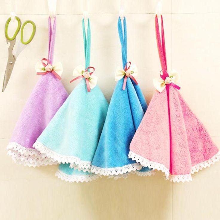 kitchen hand towel Washcloth Cute Bowknot hand towel hanging cloth Absorbent kids bathroom Hanging  towel A6