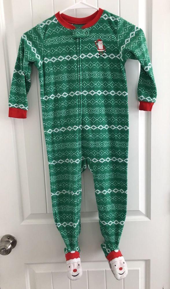a1c47e7707b0 Carters Fleece Footed Pajamas Christmas Santa Green Size 4T