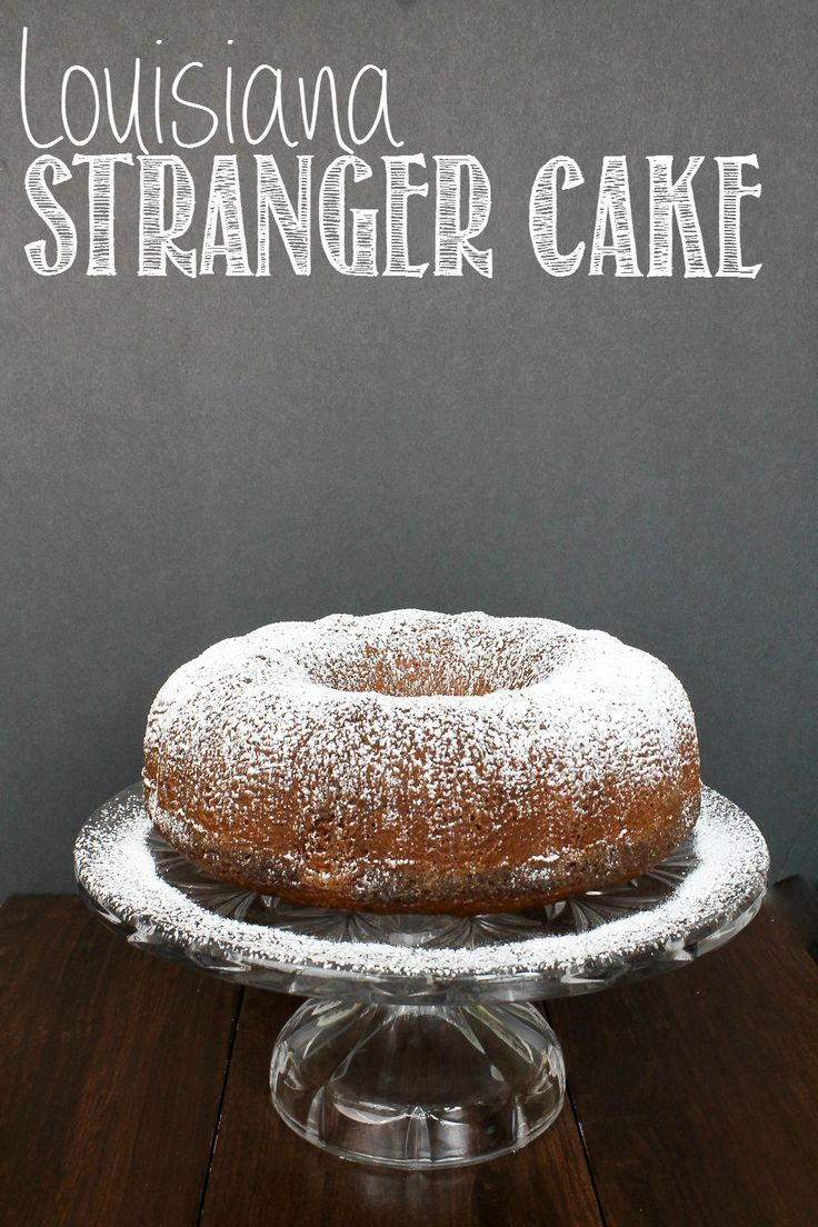 A quick bundt cake that you can take as a housewarming gift or for a church pot-luck.  This cake comes together in a snap and is super moist!  Louisiana Stranger Cake   http://taketwotapas.com