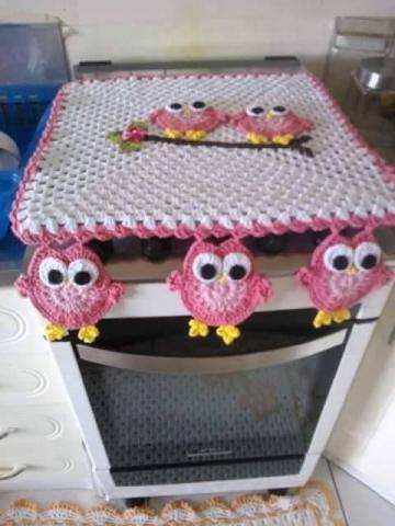 Lindas capas para tampa dde fogão em croche