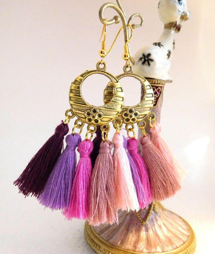 Boho Tassell Earrings in purples & pinks, goldtone hoop, gold plated ear wires