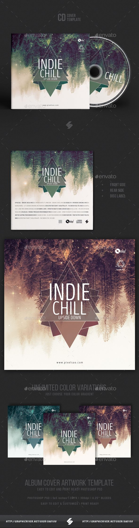 Cd box template download free vector art stock graphics amp images - Indie Chill Music Cd Cover Artwork Template