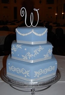 Wedgwood blue three tier hexagon shaped wedding cake