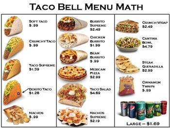 Menu Math- 4 restaurants + worksheets