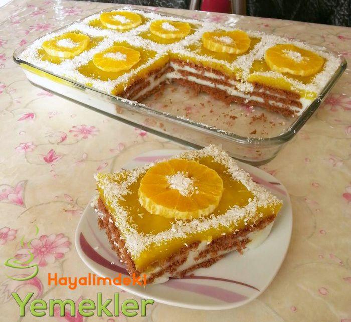 Portakallı Bisküvili Kolay Pasta