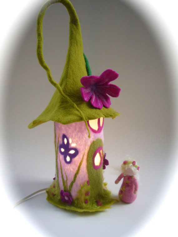 "Table Lamp cover  ""Fairy-house""  Wet Felted.Fairy light,Bedside,Nightlight.Waldorf. on Etsy, $64.00"