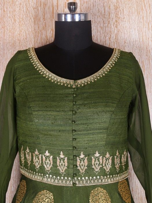 Amazing Olive Silk Anarkali Suit