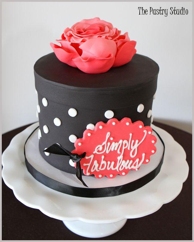 A Hat Box Cake-Black,White & Hot Pink