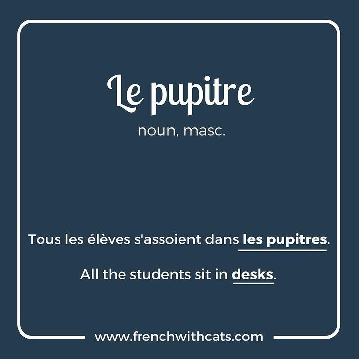 #Learnfrench in a fun way with our #French #WordOfTheDay. Today's word=le pupitre=the desk