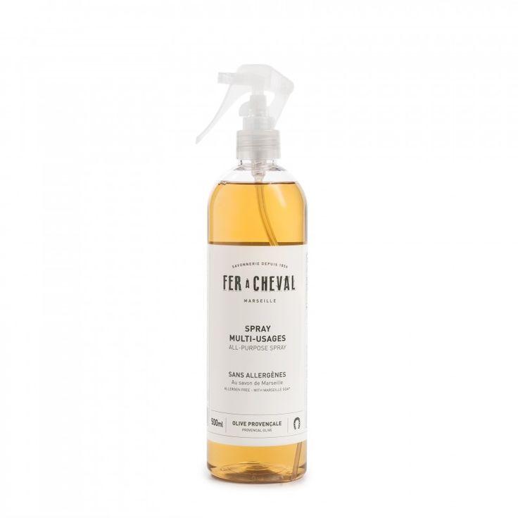 Spray Multi-usages 500ml, un produit proposé par la savonnerie Marseillaise Le Fer à Cheval, fabricant de savon de Marseille depuis 1856.