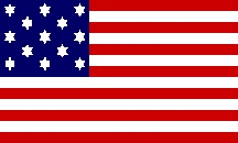 """(The Hopkinson Flag - Image from CRW Flags website). The design of the first Official """"Stars and Stripes"""" is credited to Francis Hopkinson, a Congressman from New Jersey, and signer of the Declaration of Independence.  His design had the thirteen stars arranged in a """"staggered"""" pattern.  Although there is no original example of this flag still left, we do have the bill he gave Congress for its design. Hopkins asked Congress for a keg of ale for his work!"""