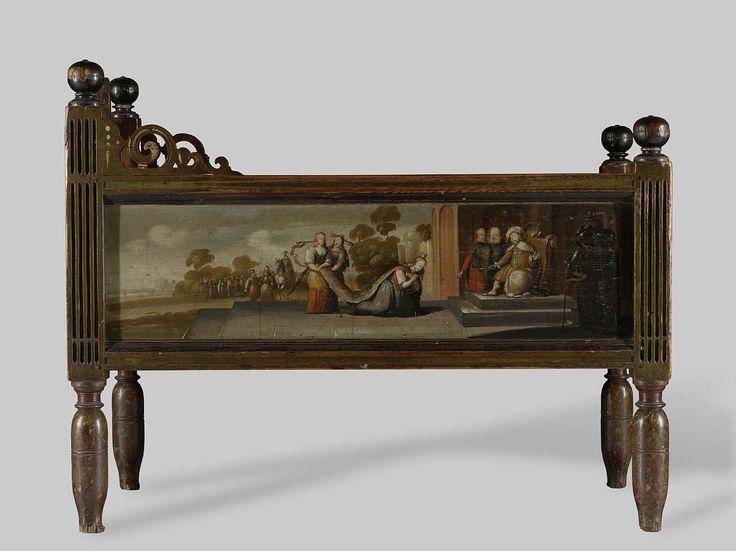 Kinderledikant, beschilderd met een houtzaagmolen en droogloods, een scheepswerf met een schip, koningin Sheba en een koning in triomfwagen, anoniem, ca. 1650 - ca. 1700
