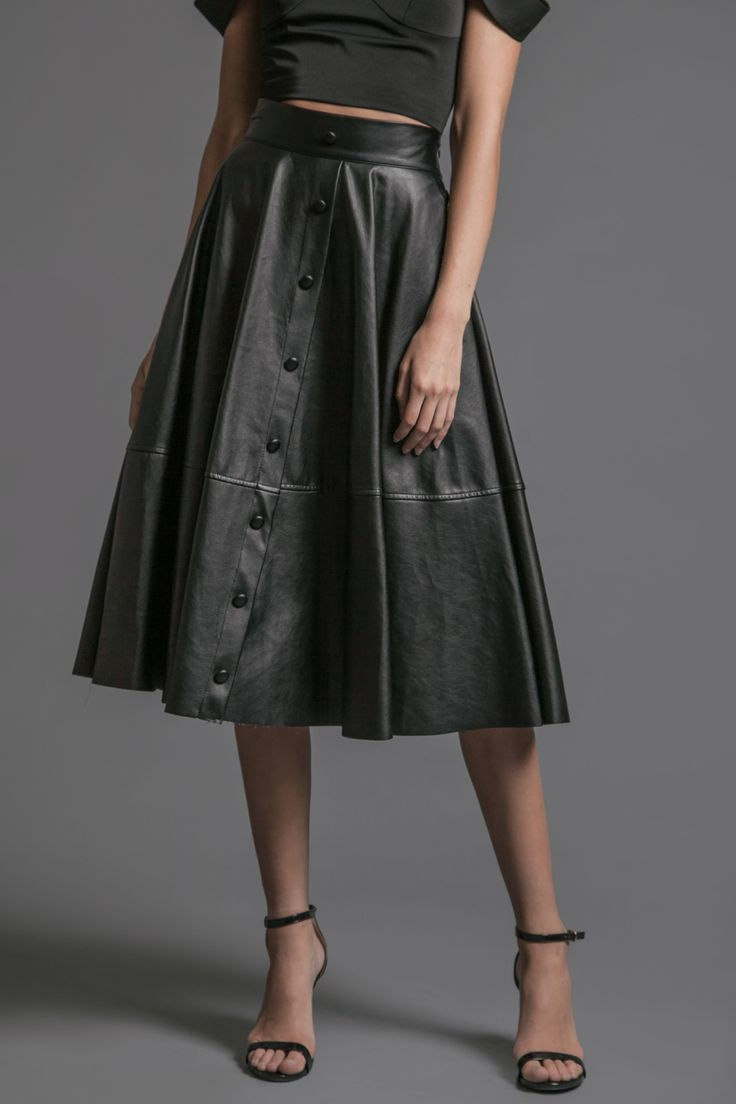pleated leather midi skirt with center front button