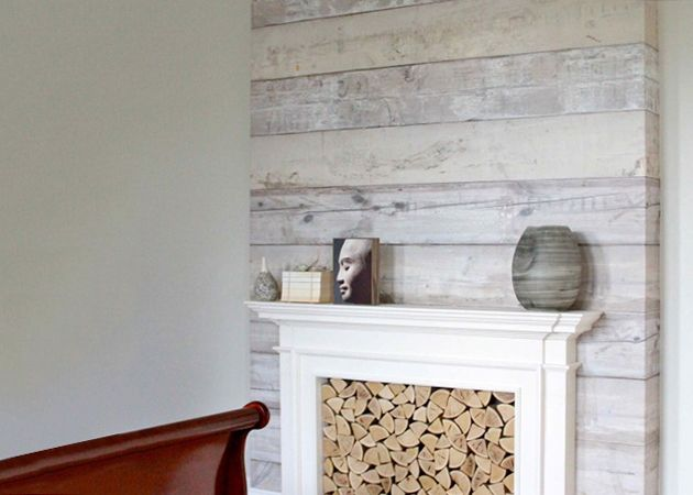 Faux finishes  If cladding your walls in wooden panelling (to achieve the serene Scandi style you've been dreaming of) simply isn't an option, photo-printed wallpaper is a great alternative, as shown here.