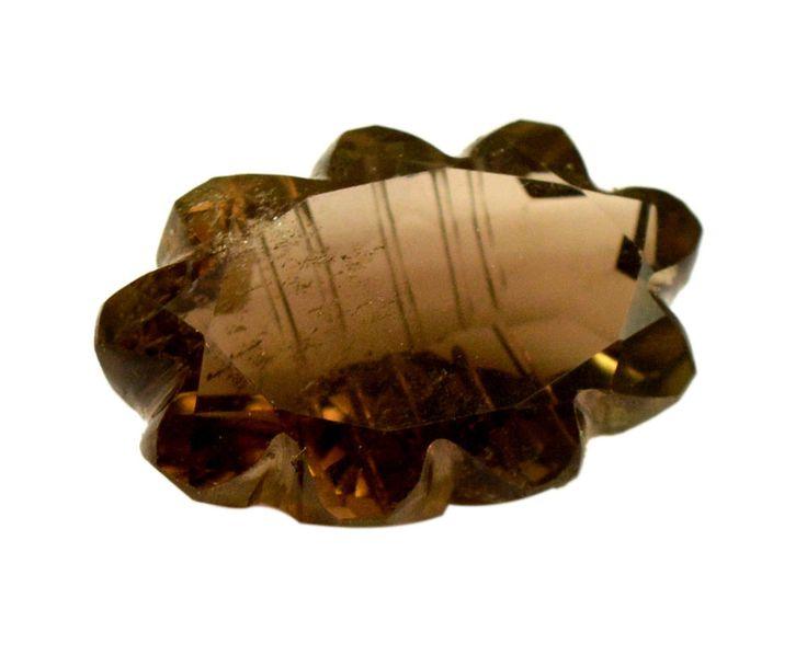 29ct Rare Natural Smokey Quartz Oval Floral Carving Work Loose Gemstone on ebay