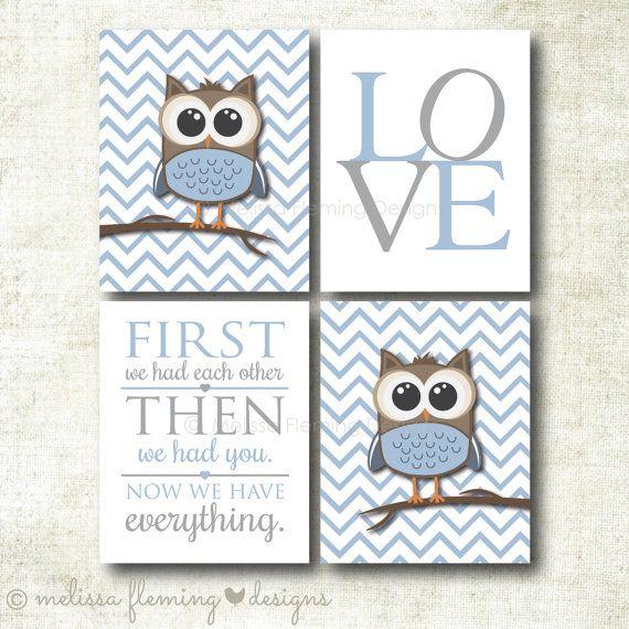 Baby Boy Nursery Art | Chevron Owl Nursery Prints | Baby Nursery Decor | Art Print Set (BOY23)