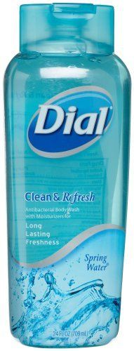 Dial Clean & Refresh Body Wash, Spring water, 21-Ounce Bottles (Pack of 3) by Dial. $20.75. Clear brisk scent. Leaves skin clean, healthy and rejuvenated. An antibacterial body wash with moisturizers. An antibacterial body wash with moisturizers. This crystal clear wash is flowing with freshness, from its clear, brisk scent to its feather-light moisturizers. It also rinses completely, leaving your skin feeling healthy and rejuvenated.