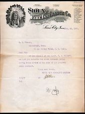 Sioux City Iowa  Fire Insurance Co Indian Chief 1910 Vintage Letter Head Rare