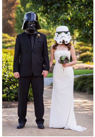 StarWars Wedding Photo http://www.robgreerweddings.com/portfolio/weddings/star-wars-japanese-garden-wedding-photography