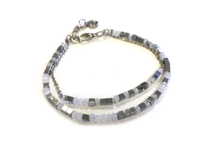 One Button silver cubes & grey glass double row bracelet #silver #grey #glamorousgreys #bracelet #accessories #onebutton Click to buy from the One Button shop.