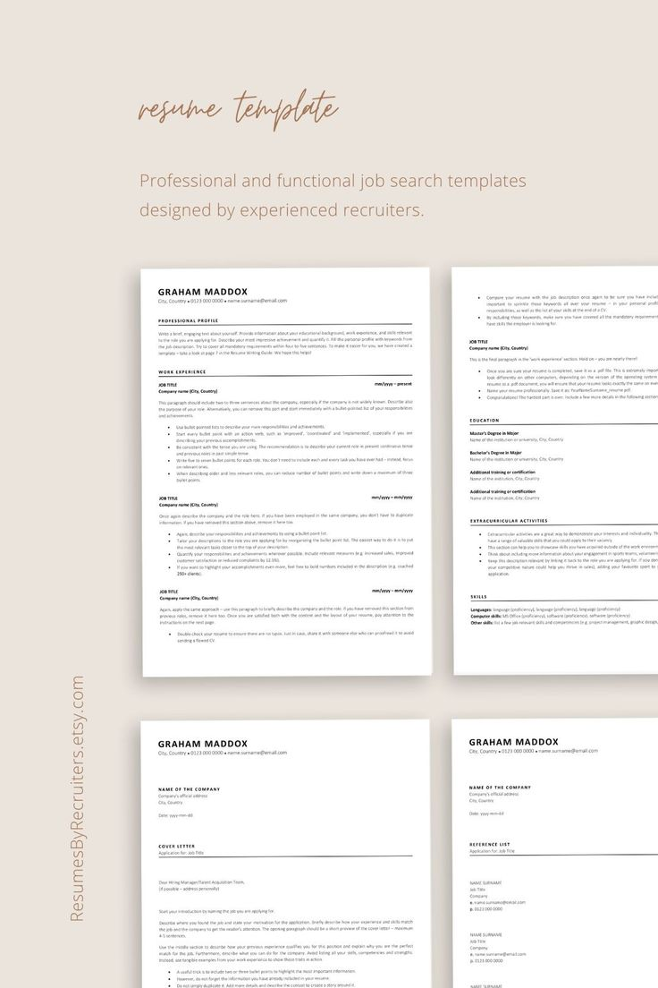 ATS Resume Template ATSfriendly CV Instant Download