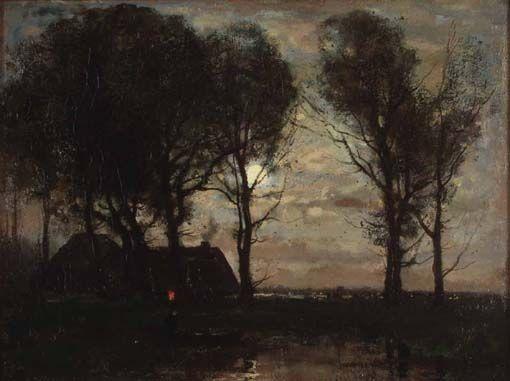 , J.H. Weissenbruch, landschap bij maanlicht