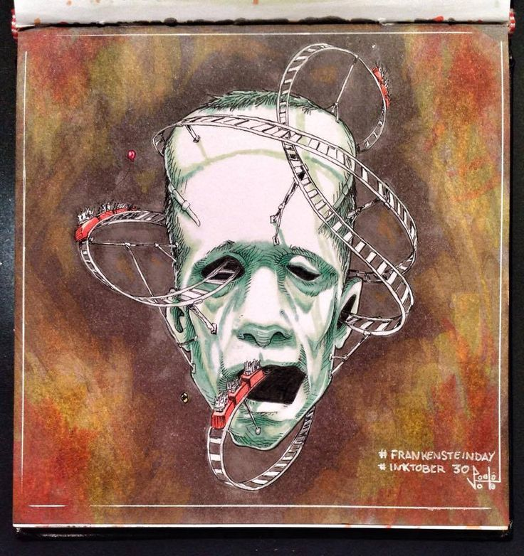 Paolo Voto - Frankenstein Park - illustration - #inktober #inktober2015 #inktobersonsy #massoneriacreativa - www.massoneriacreativa.com