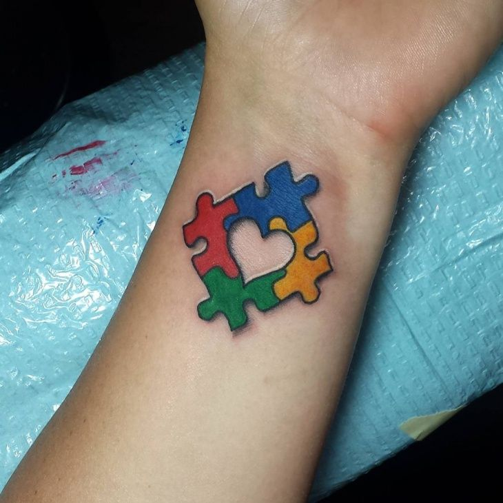 Colorful-Puzzle-Piece-Wrist-Tattoo.jpg (730×730)