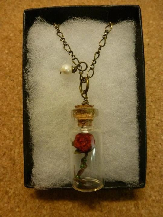 Beauty and the Beast Red rose in a glass jar necklace $16.46. Somebody buy me this.