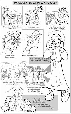 Dibujos para catequesis: PARÁBOLA DE LA OVEJA PERDIDA