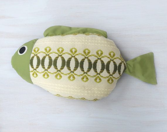 Fish pillow Kids room decor Nautical pillow Lake by Florfanka