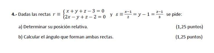 Ejercicio 4A 2014-2015 Julio. Propuesto en examen pau de Canarias. Matemática. Geometría métrica.
