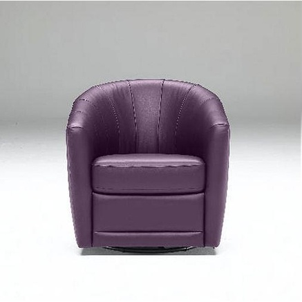 Natuzzi Editions Tre Leather Swivel Chair For The