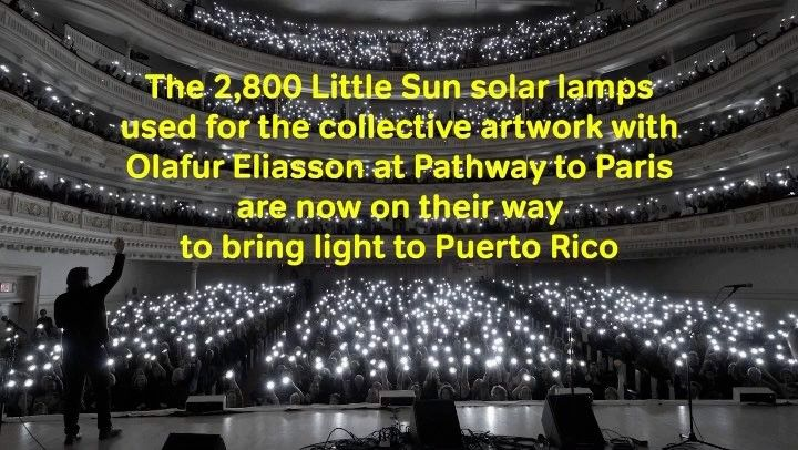 Pathway to Paris has been so happy collaborating with Little Sun and Olafur Eliasson. It was a moment of a lifetime experience to watch this Little Sun Sunrise. Thank you to everyone who helped to make this possible to all of the sponsors volunteers and helpers. -- #repost from @littlesunenergy : On the eve of the Climate Conference COP23 in Bonn 2800 people came together at Pathway to Paris in Carnegie Hall NYC. Pathway to Paris is a collaboration between musicians artists sustainability…