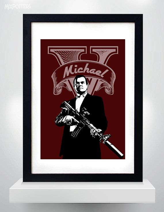 GTA V Michael Wall Art Print Game Poster selectable by MixPosters,