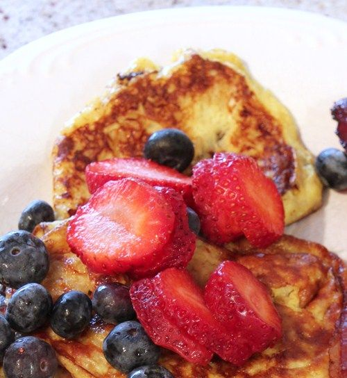 These Paleo banana pancakes with fruit, are quickly becoming my fave breakfast! So easy with 2 ingredients!