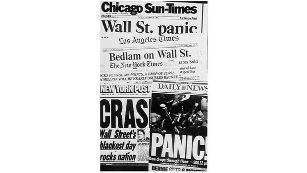 U.S. newspaper headlines from Oct. 20, 1987 -- the day after Black Monday. After Black Monday, stock exchanges figured they had better find ways to curb such collapses and instituted circuit breakers, or trading pauses, when there are large declines. On the Dow, trading would now stop for up to an hour on a decline of 10 per cent. (The Associated Press)
