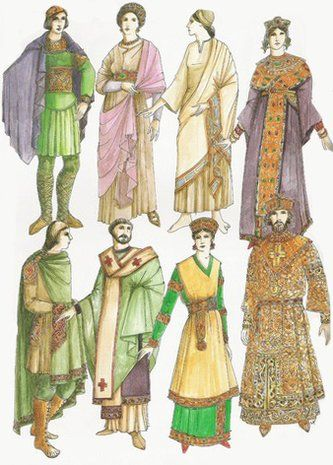 The clothes of the Byzantine became a luxurious, rigid dress, which covered the body and veiled it's forms.  The ruling layer of the society liked silk materials and brocade, which were richly embroidered with precious metals and pearls.